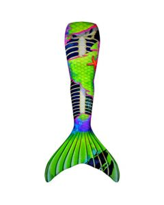 a neon zombie mermaid tail with green and purple