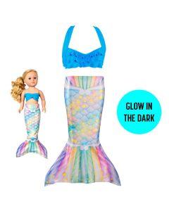 Glow in the dark toddler mermaid tail and doll tail bikini set