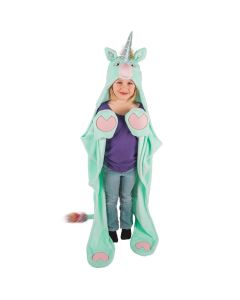a young girl models a mint green unicorn costume blanket for kids