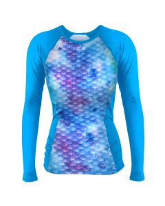 Watercolor Waves Rash Guard Long Sleeve