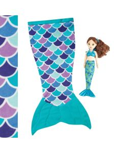 Aqua Dream cuddle tail mermaid blanket and mermaid Zoey doll