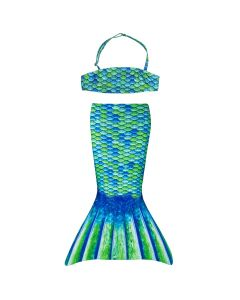 green and blue mermaid tail bikini top set for little toddler mermaids