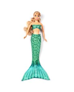 a celtic green mermaid tail set on a small doll