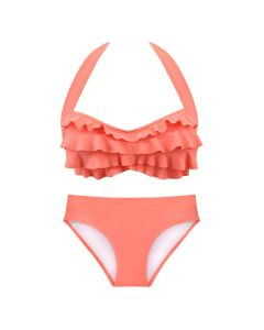 A matching coral sea wave bikini top and bottom for swimming