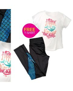 Flippin' Awesome White Mermaid T-Shirt and bundled Mermaid mesh  leggings