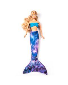 a lunar galaxy mermaid tail set on a small doll