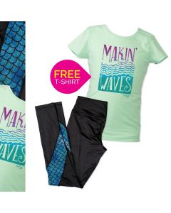 Girls' Making Waves Tee & Mesh Mermaid Legging Set