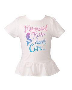 Kids Mermaid Hair Don't Care Tee - White