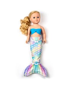 a sweet dreams pastel rainbow mermaid tail set for a large doll