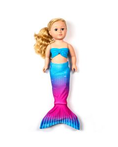 an ombre blue to pink mermaid tail set for a large doll