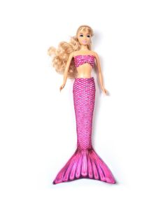 a malibu pink mermaid tail set on a small doll