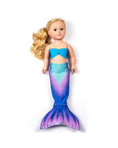 a teal and purple mermaid tail set for an 18 inch doll