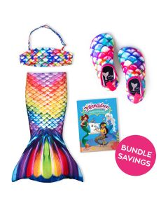 Rainbow Reef Toddler Tail, Bandeau Top, and Water Shoes Bundle