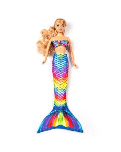 a rainbow reef mermaid tail set on a small doll