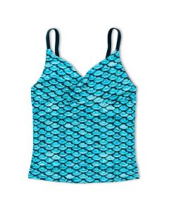 Girls Tidal Teal Tankini Top