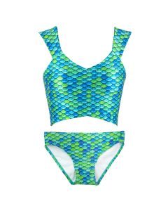 Aussie Green Crop Top Set with Scale Bikini Bottom