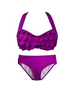 Grape Purple Sea Wave Bikini Set