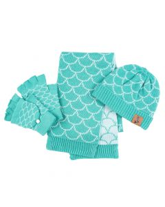 teal blue mermaid beanie, gloves and scarf all knit with white trim.
