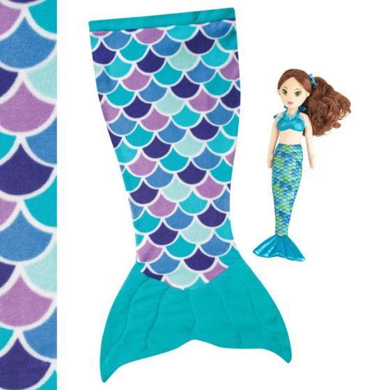 Aqua Dream cuddle tail mermaid blanket and mermaid Zoey doll