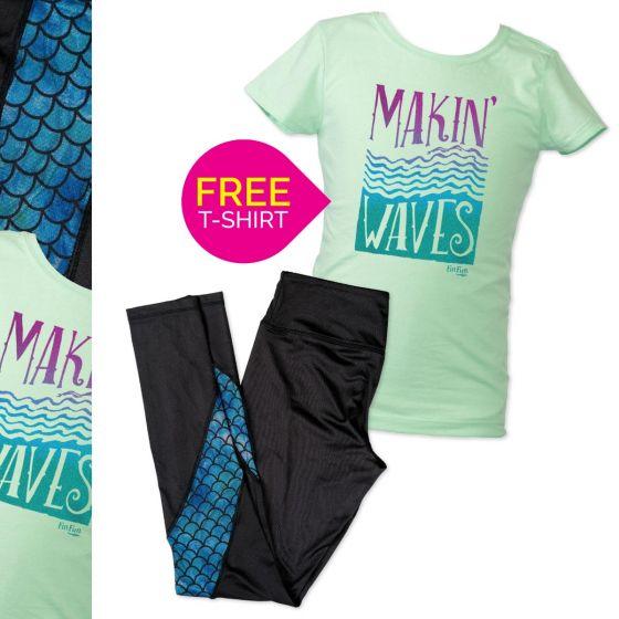 Makin Waves t-shirt and black leggings mesh print set