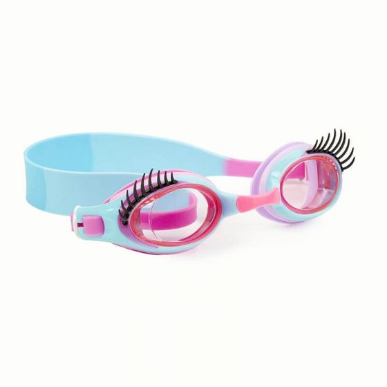 blue and pink kids goggles with eyelashes
