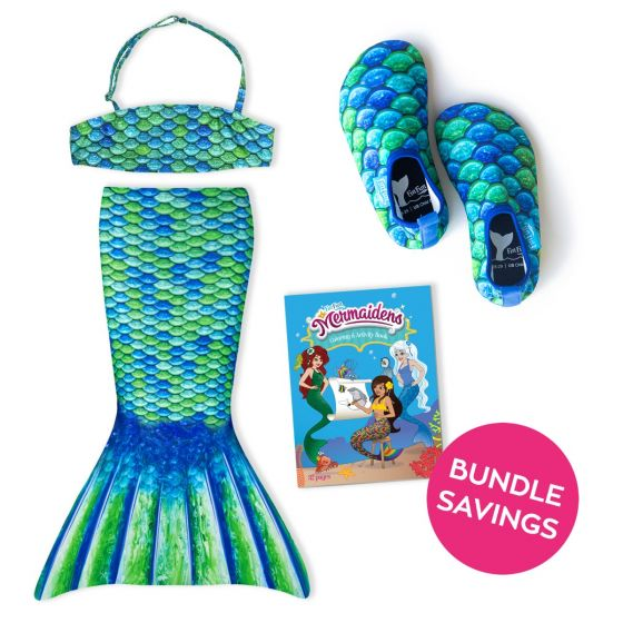 Aussie Green Toddler Tail, Bandeau Top, and Water Shoes Bundle