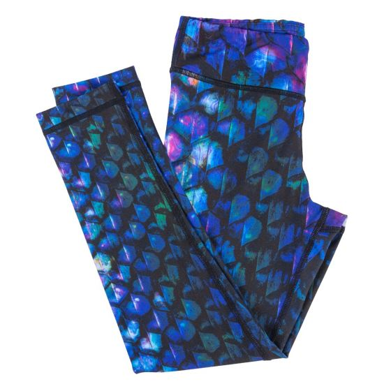purple blue and black dragon scale leggings