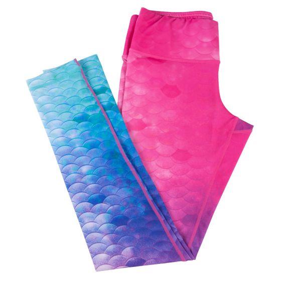 Teal, Blue, Purple, and Pink mermaid scale leggings