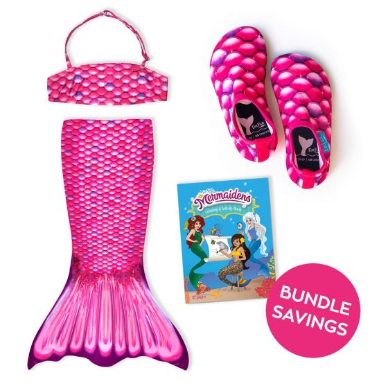 Malibu Pink Toddler Tail, Bandeau Top, and Water Shoes Bundle