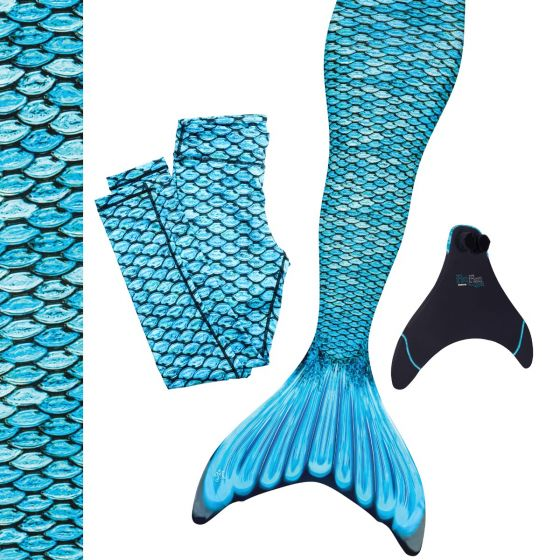 Tidal Teal Blue Mermaid Tail Set / Monofin with Matching Leggings